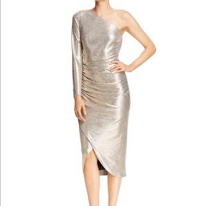 Aidan Mattox One Shoulder Metallic Midi dress